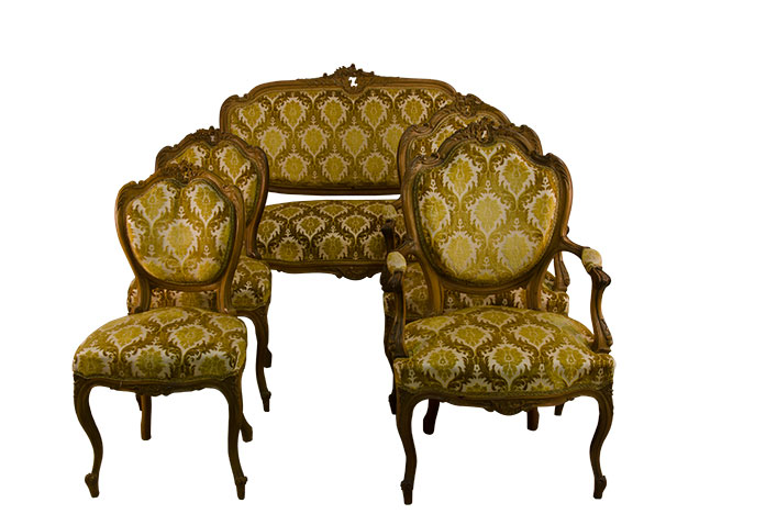 Louis xv salon set 5 pieces versmissen antiques for Salon louis xv